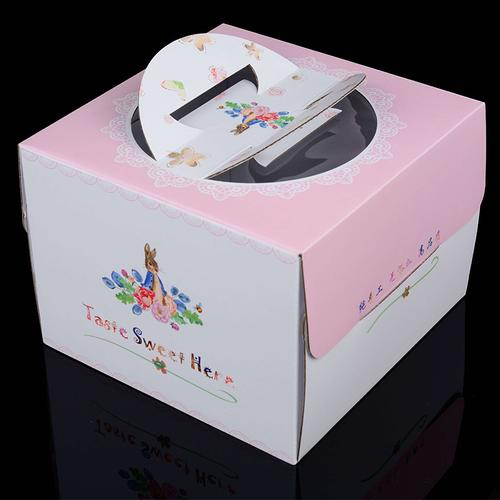 旭源兴 烘焙包装盒 手提盒方形打包盒 6寸8寸10寸粉色生日蛋糕盒