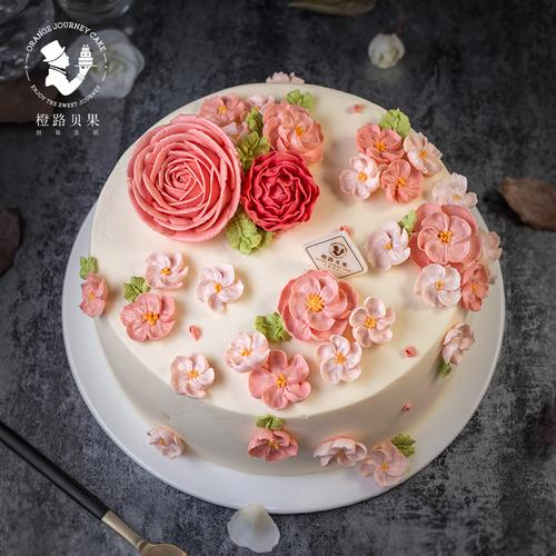 qc037【十年老店·橙路蛋糕】粉色系裱花(很多花)c034