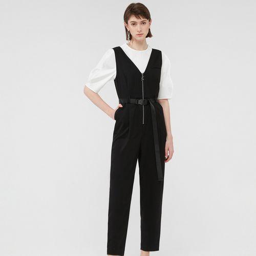 玛丝菲尔素夏新款v领装饰腰带连体裤长裤女