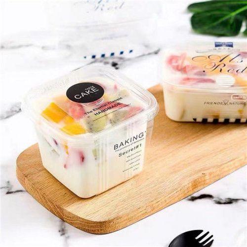网红水果捞方形木糠杯一次性千层蛋糕盒子高档慕斯盒