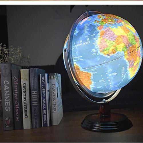 高档ct300木灯光海沟地球仪全圆刻质尺6度底座夜灯中小学生教奢华
