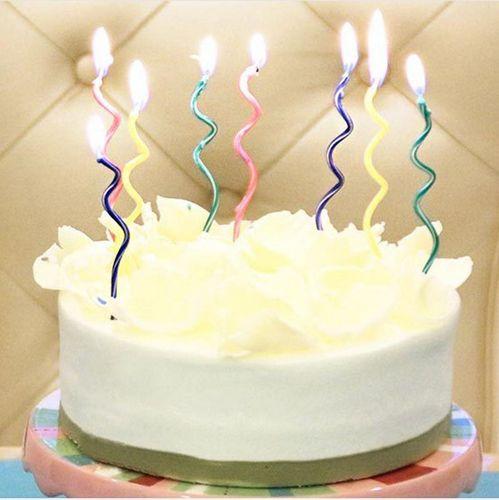 彩色曲线蜡烛创意生日蛋糕曲线蜡烛 螺旋状蜡烛