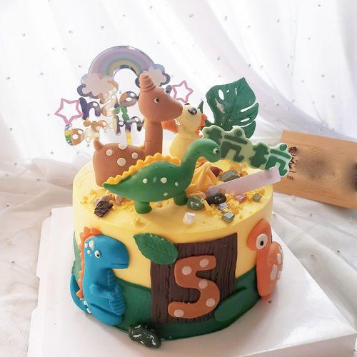 彩虹烘焙馆卡通小恐龙巧克力硅胶模翻糖模8个装可爱蛋糕装饰