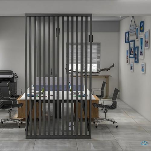 屏风隔断轻奢简易铁艺办公室入户屏风挡煞公司形象墙
