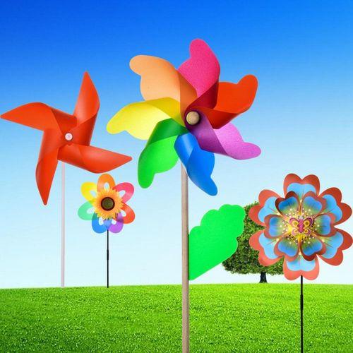 六彩风车卡通塑料diy户外大风车装饰幼儿园礼物地摊