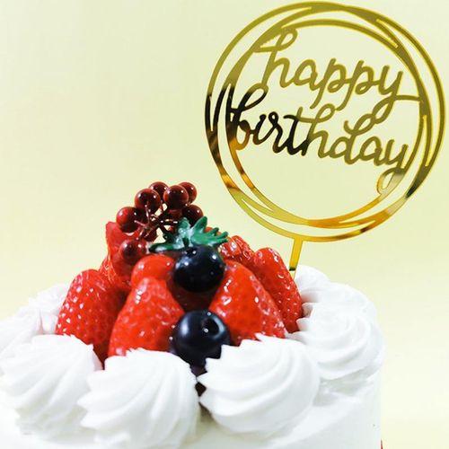 亚克力翻糖蛋糕插件 网红生日装饰插件定制活动卡 金色10个装