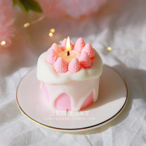 送闺蜜朋友生日礼物安眠可爱水果少女心小草莓奶油蛋糕香薰蜡烛