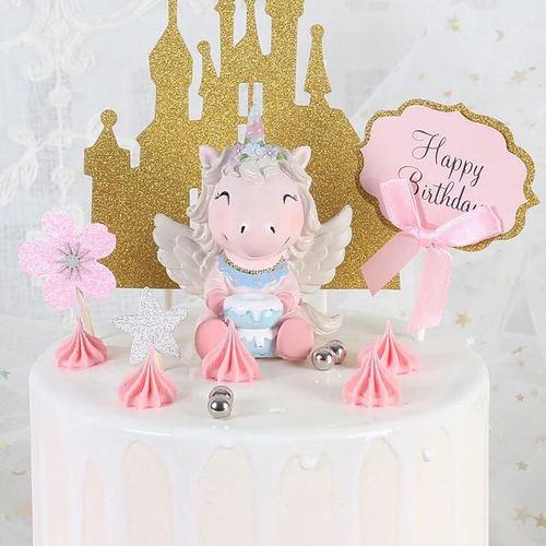 正品专利4款ins独角兽蛋糕装饰摆件独角兽烘焙用品
