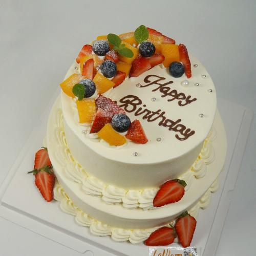 弯月缤纷水果蛋糕(图片为6+8寸和6寸效果)表面水果