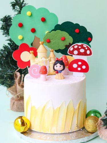 森系烘焙插牌城堡果树装饰软陶苹果毛毡摆件小公主蛋糕玩偶蘑菇