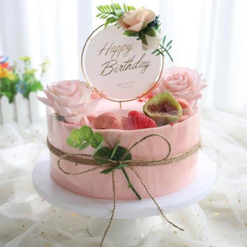奶油草莓烘焙水果裱花彩虹双层生日蛋糕模型幼儿园纪念日婚礼2021