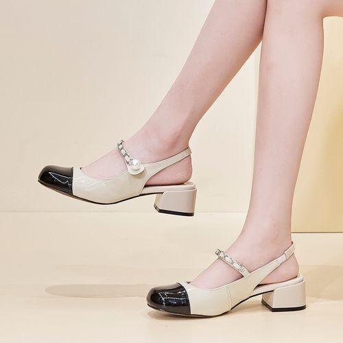 头层牛漆皮21夏季新款包头凉鞋女小香风玛丽珍鞋女鞋