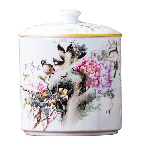 正品438景德镇陶瓷摆件 花鸟陶瓷储物罐糖果罐子 创意