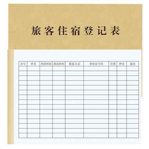 旅客住宿登记表酒店宾馆住宿登记簿旅客信息登记册办公领用本台账