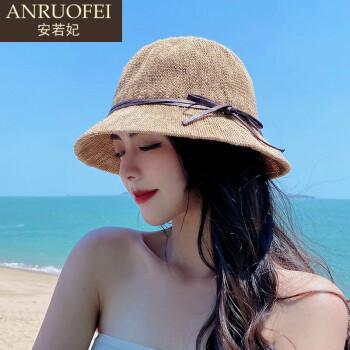 安若妃轻奢品牌渔夫帽子女夏季新款韩版蝴蝶结系绳小盆帽户外遮阳防晒