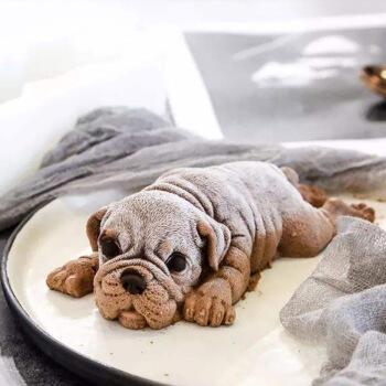 美国sol 家用烘焙烤箱专用卡通硅胶模具 兔子沙皮狗慕斯模具 卡通动物