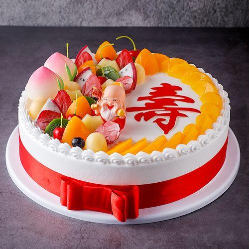 中国祝寿老人寿桃水果蛋糕假蛋糕样品模型仿真2021新款 生