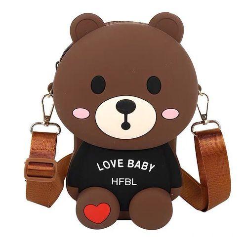 卡通小包包女新款欢乐熊硅胶公仔斜挎包潮流网红小熊
