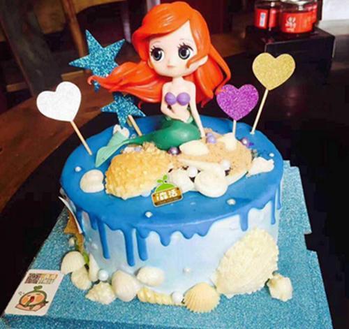 美人鱼公主蛋糕装饰摆件 大眼睛公主 带底座儿童卡通
