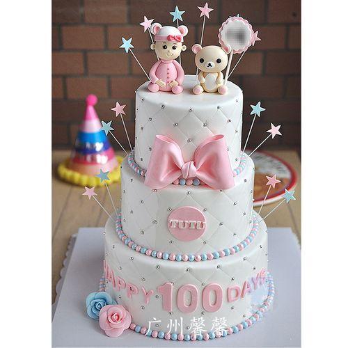 广州馨馨2019年创新卡通小王子公主儿童生日双层三层翻糖蛋糕模型