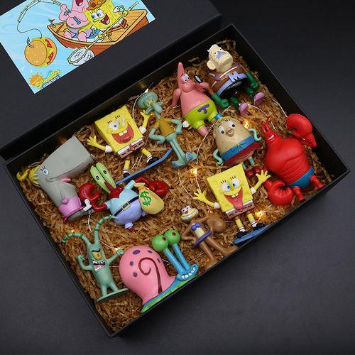 创意海绵宝宝手办玩偶玩具蛋糕摆件生日礼物模型蟹派