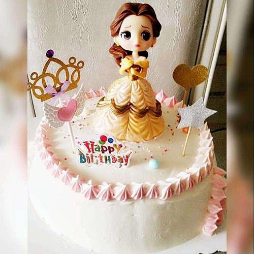 高档黄色贝尔公主蛋糕摆件黄色装饰玩具儿童生日蛋糕女孩卡通公主