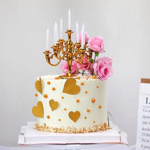 网红小红书同款生日蛋糕装饰烛台小蜡烛金色复古蛋糕