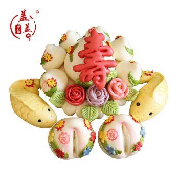 福寿糕胶东花饽饽生日蛋糕面点老人祝贺寿礼品手工大寿桃馒头馍馍 寿