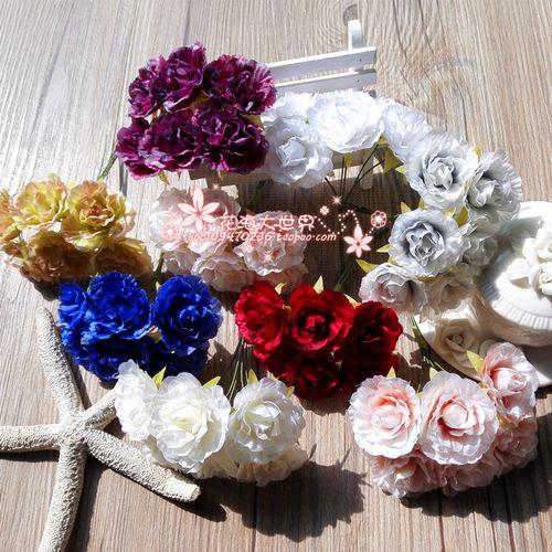 花海大世界汉服头饰diy手工花朵仿真花花环材料网拍道具 雪山玫瑰