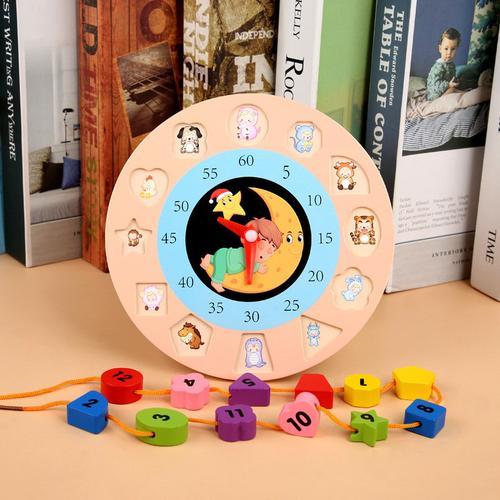 幼儿童木制数字形状配对时钟串珠早教益智力玩具1-2-3