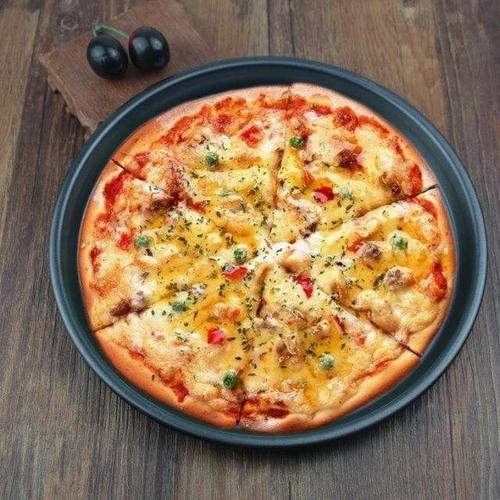 加厚不粘碳钢9/10/11/12寸家用披萨盘不沾图层披萨烤盘pizza烤盘