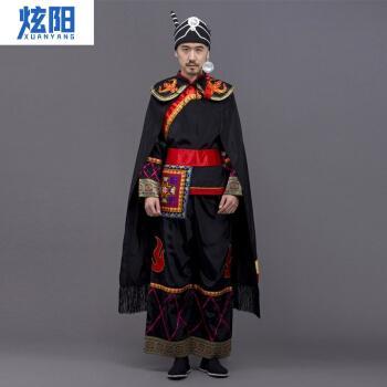少数民族服装彝族衣服彝男士舞蹈演出服成人凉山火把节盛装羌族披风