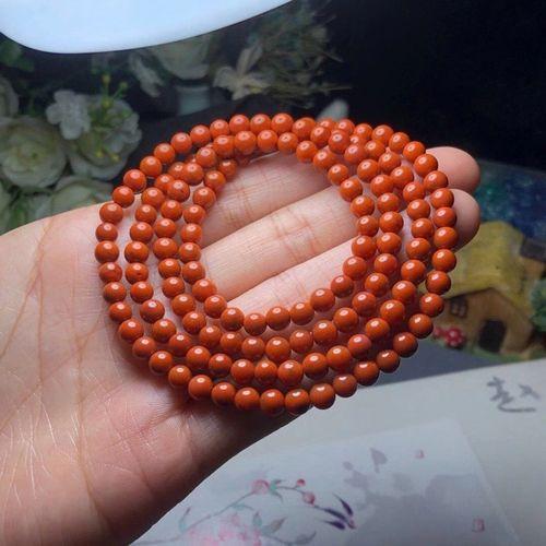 臻莱 天然多肉南红玛瑙手链 女士款四圈红水晶饰品佛珠手串喜欢手珠