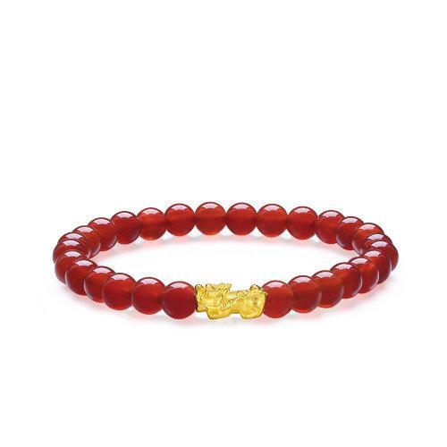 hua hao yu yuan/花好玉缘 黄金手链 3d硬金貔貅足金配红玛瑙珠手饰