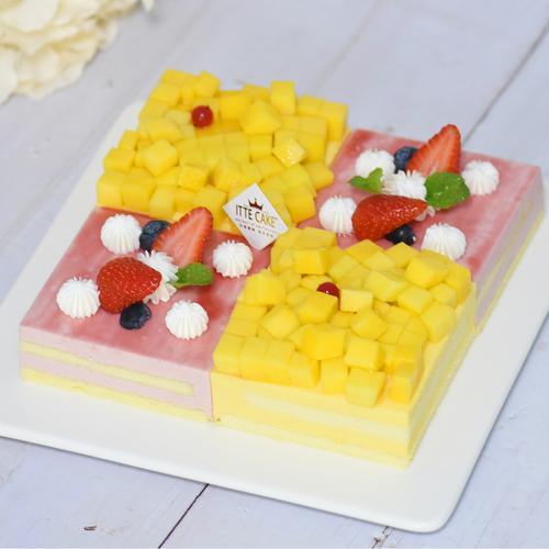 【草莓芒果慕斯双拼】新鲜水果慕斯生日蛋糕