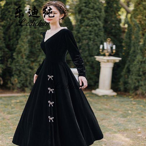 【仙气成人公主裙礼服】法式复古显瘦v领黑色丝绒连衣裙轻熟风秋冬