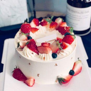 蓝莓水果生日蛋糕全国西宁银川兰州同城配送店 好吃到爆的草莓小可爱