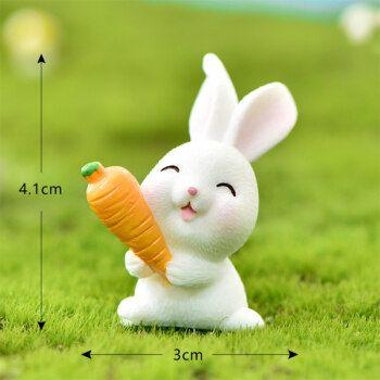 【618活动】森林兔子模型 迷你兔子玩具动物模型儿童q版白兔拔萝卜屋