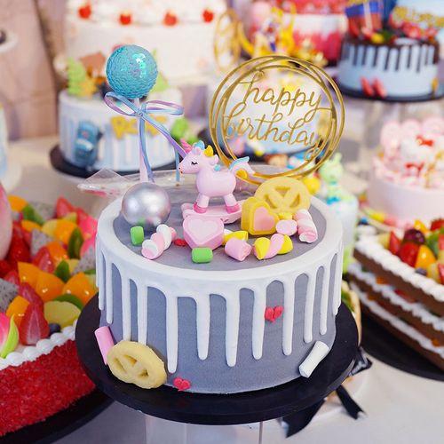 来图定制 独角兽仿真生日假蛋糕模型新款 欧式创意网红蛋糕店样品