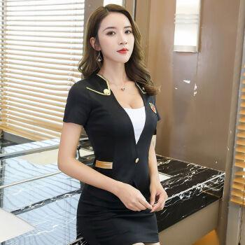 酒店前台工作服足浴足疗按摩技师工作服新款女套装性感空姐制服 黑色