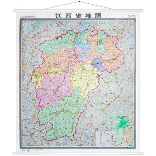【极货】江西省地图挂图 双面防水覆膜 精装办公室 会议室地图 超大竖