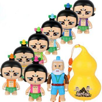公仔套装葫芦娃玩具可变成蛋的金刚葫芦人偶模型 经典动画人物玩具