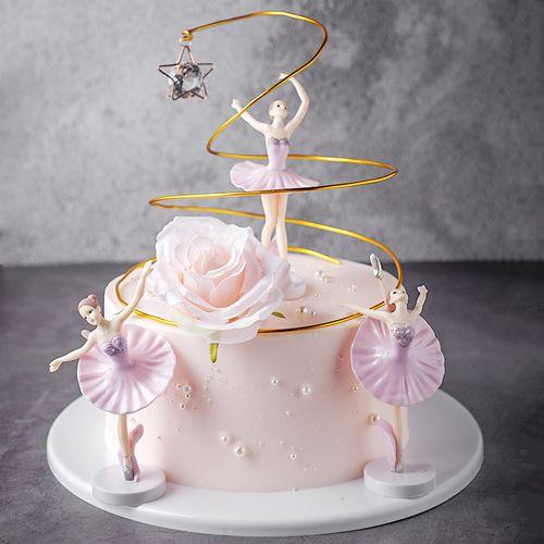 芭蕾跳舞女孩花卉生日蛋糕模型仿真2020新款网红假