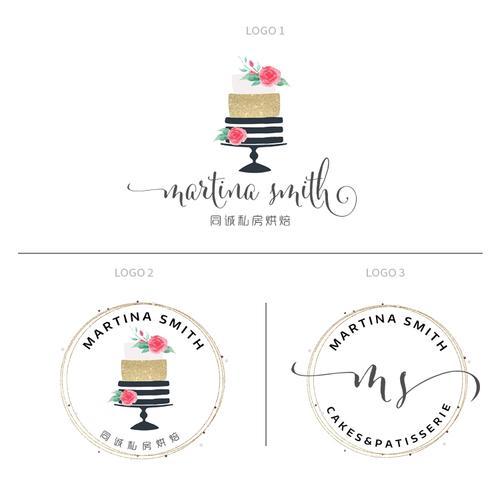 原创蛋糕店logo标志设计水印私房烘焙甜品蛋糕面包店