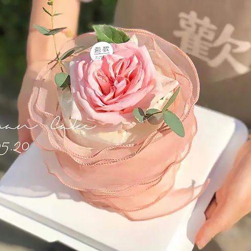 压皱网纱花蛋糕围边装饰金边鱼尾纱丝带缎带礼品包扎