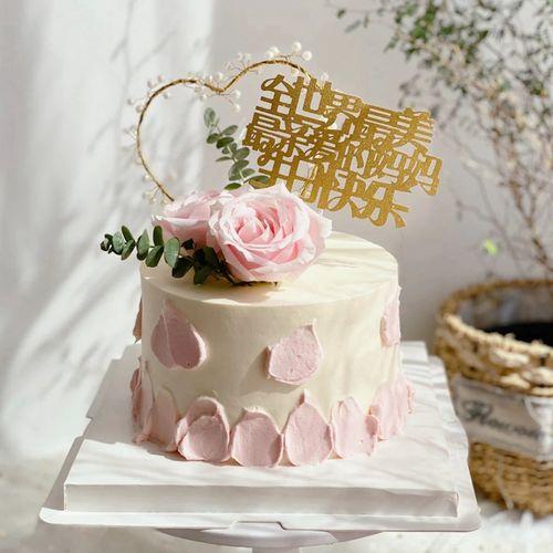 新品母亲节插牌尤加利叶鲜花蛋糕装饰爱心亲爱的妈妈生日快乐插件