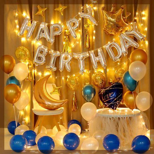 生日趴体布置气球生日气球装饰场景布置男朋友生日布置墙网红