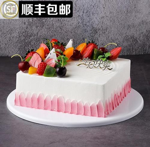 方形水果蛋糕模型仿真2020新款塑胶生日假蛋糕样品.