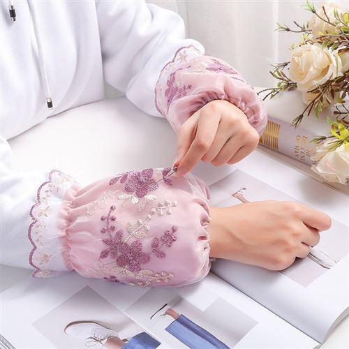 韩女头人刺绣网纱蕾丝袖套版士短款学生防污护q袖成秋