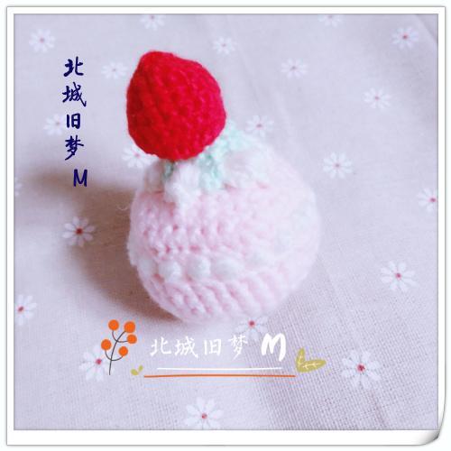 纯手工编织-草莓蛋糕玩偶